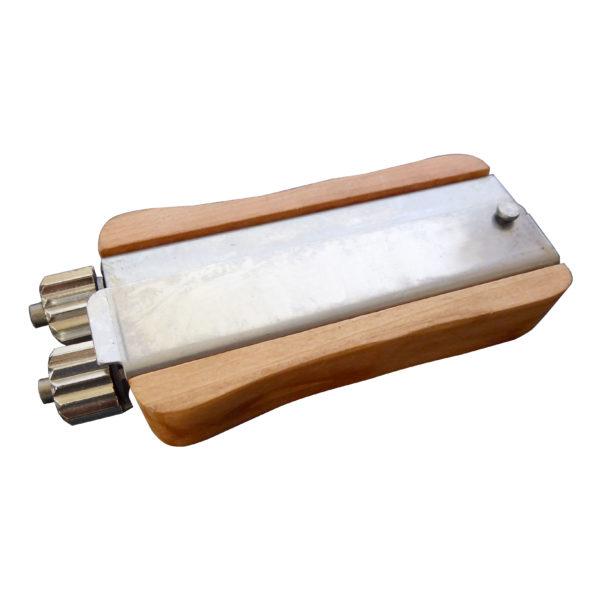 Wooden handled metal wire crimper